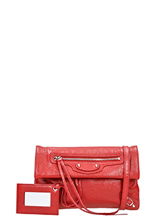 Balenciaga-Clas mini envst red leather clutch