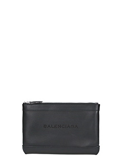 Balenciaga-Navy clip s black leather clutch