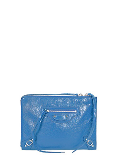 Balenciaga-Pochette Classic Arena Pouch in pelle blue