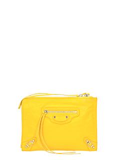 Balenciaga-Pochette Classic Arena Pouch in pelle gialla