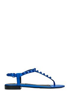 Balenciaga-T-strap Giant blue leather flats