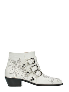 Chloé-Susanna white leather ankle boots