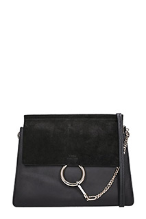Chlo�-Borsa Faye Media in pelle e suede nero