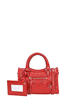 Balenciaga-Clas nano city  red leather bag