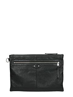 Balenciaga-Pochette Clip L in pelle nera
