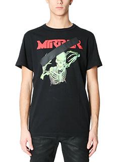 Off White-T-Shirt Mirror Skull in cotone nero