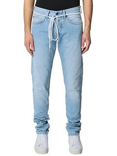 Off White-Jeans Diagonal Spray in denim azzurro