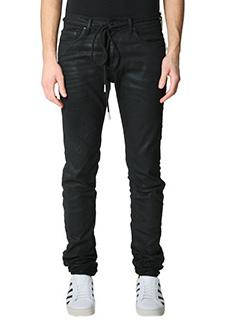 Off White-Jeans Diagonal Skinny in denim nero