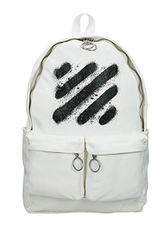 Off White-Diag spray white canvas backpack