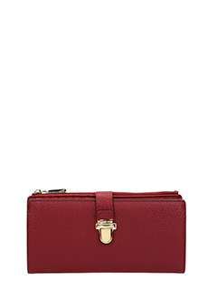 Michael Kors-Portafoglio Studio Mercer Large Zip Snap Wallet in pelle saffiano bordeaux