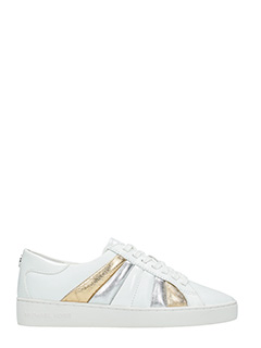 Michael Kors-Sneakers Conrad in pelle bianca oro argento