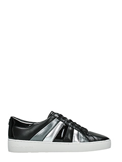 Michael Kors-Sneakers Conrad in pelle nera grigia argento