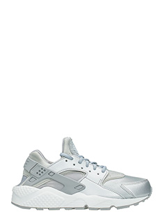 Nike-Sneakers Huarache Run in pelle e tessuto argento