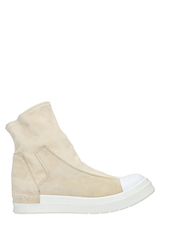 Cinzia Araia-Sneakers alte Slip On Mid  in camoscio beige