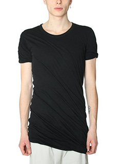 Rick Owens-T-Shirt Double Short in cotone nero