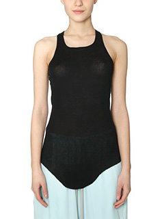 Rick Owens-Top Basic Rib Tank in cotone nero