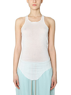 Rick Owens-Top Basic Rib Tank in cotone milk