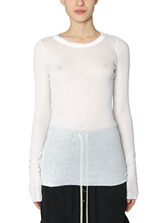 Rick Owens-Long sleeves white cotton knitwear