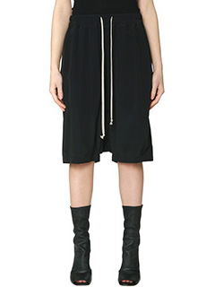 Rick Owens-Drawstring pod black silk shorts