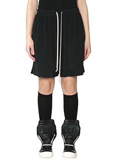 Rick Owens-Drawstring boxe black silk shorts