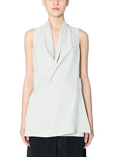 Rick Owens-Top Wrap Vest in viscosa dinge