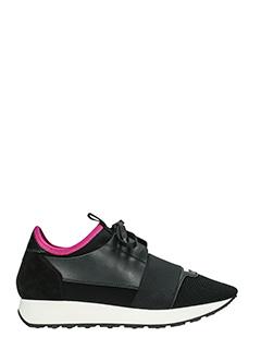 Balenciaga-Sneakers Race Runners in pelle e camoscio nero