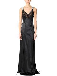 Givenchy-Vestito Long Dress in seta e pizzo nero