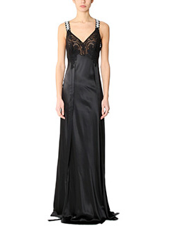 Givenchy-Vestito Long Dress in seta e pizzo nero
