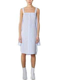 Maison Margiela-Vestito Camicia in cotone a righe azzurro bianco