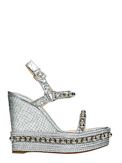 Christian Louboutin-Zeppe Cataconico in pelle argento