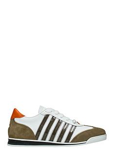 Dsquared 2-Sneakers New Runner in pelle bianca e marrone