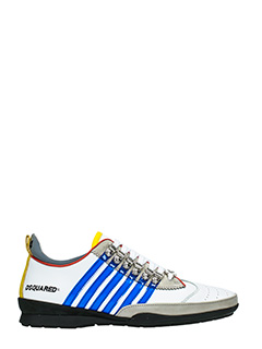 Dsquared 2-Sneakers 251 in pelle bianca blue gialla