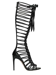 Casadei-Stivali Cage Boots in pelle nera