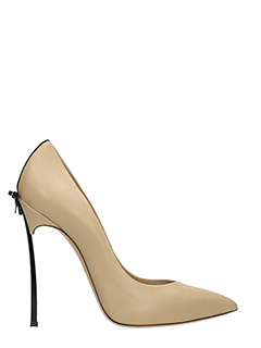 Casadei-Decollet� Blade Bow in pelle duse skin