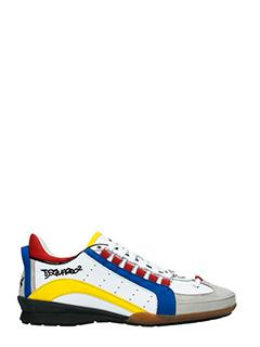 Dsquared 2-Sneakers 551 in pelle e tessuto bianco blue giallo