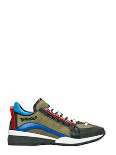 Dsquared 2-Sneakers 551 in pelle e tessuto verde nero