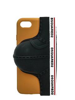 Dsquared 2-Cover IPhone Slip in gomma marrone nera