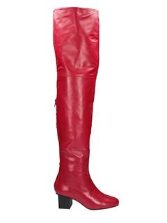 Marc Ellis-Stivali Cuissards Mesh in pelle e camoscio rosso