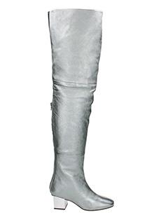 Marc Ellis-Stivali Cuissards Mesh in pelle e camoscio grigio bianco
