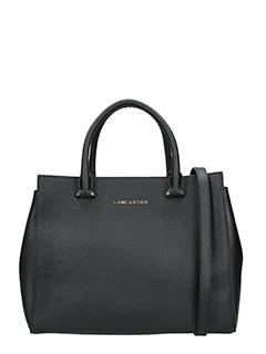 Lancaster-Borsa Adeline Handle Bag in pelle saffiano nera