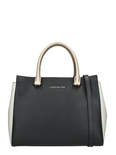 Lancaster-Borsa Adeline Handle Bag in pelle saffiano nera bianca