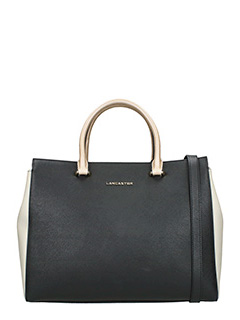 Lancaster-Borsa  Shopping Bag medium  in pelle bianca nera cuoio