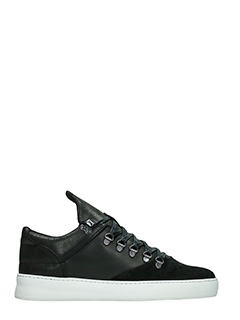 Filling Pieces-Sneakers Mountain Cut in pelle e camoscio nero