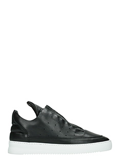 Filling Pieces-Sneakers Low Top in pelle nera zip
