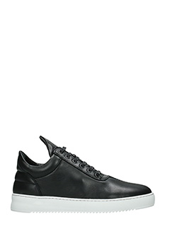 Filling Pieces-Sneakers Low Top faced two  in pelle nera