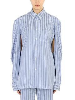 Balenciaga-Camcia in cotone azzurro bianco