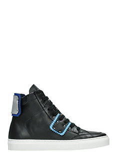 One Way-Sneakers alte in pelle nera azzurra