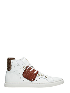 One Way-Sneakers alte in pelle  bianca cuoio