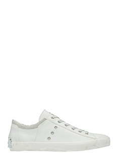 Crime-Sneakers basse in pelle bianca