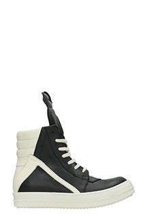 Rick Owens-Sneakers Geobasket in pelle bianca e nera